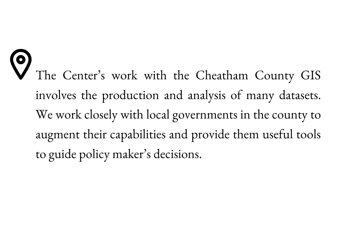 The Center's work with the Cheatham County GIS involves the production and analysis of many datasets. We work closely with local governments in the county to augment their capabilities and provide them useful tools to guide policy maker's decisions.
