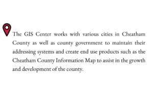 The GIS Center works with various cities in Cheatham County as well as county government to maintain their addressing systems and create end use products such as the cheatham county information map to assist in the growth and development of the county.